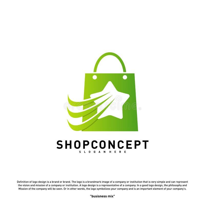 Sterwinkel Logo Design Concept Winkelcentrum Logo Vector Winkel en giftensymbool stock illustratie