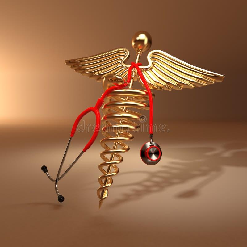 Stethoscoop, caduceus symbool en cardiogram vector illustratie