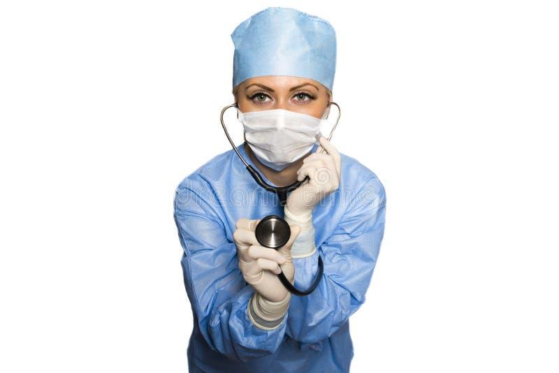 Stethoscoop in de handen van de chirurg stock foto