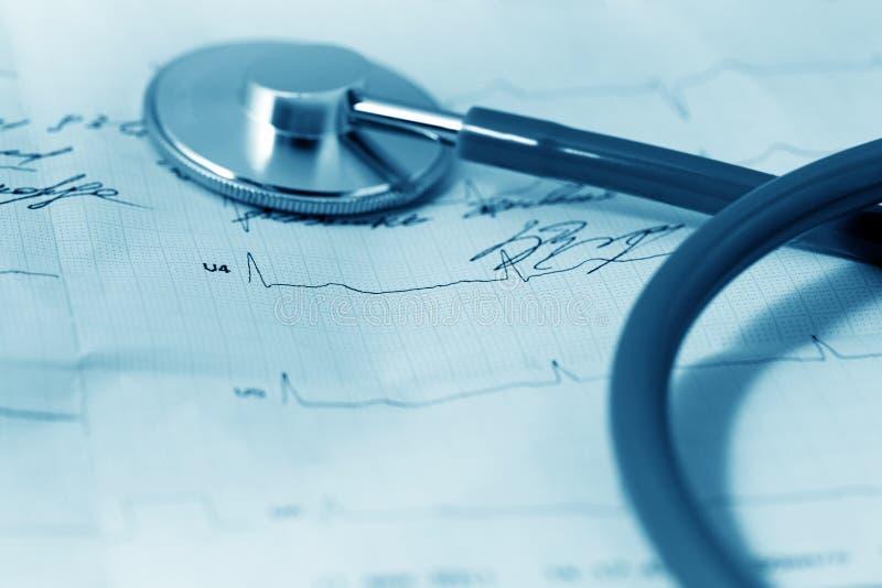 Stethoscoop en cardiogram stock afbeelding