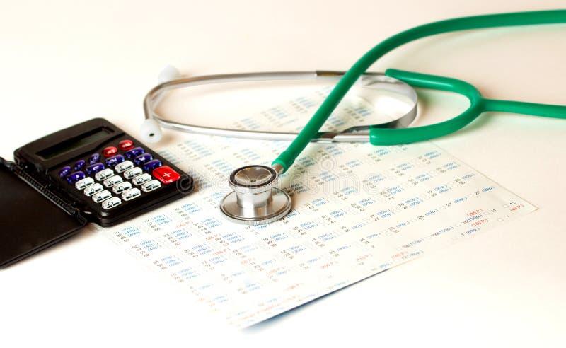 Stethoscoop en geldsymbool voor gezondheidszorgkosten of medische verzekering Stethoscoop en calculator stock foto's