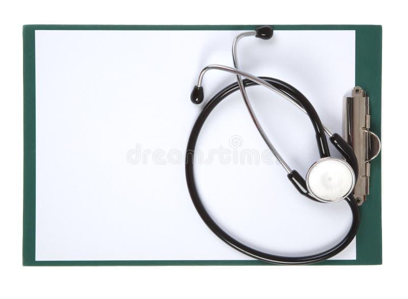 Stethoscoop en klembord stock afbeeldingen