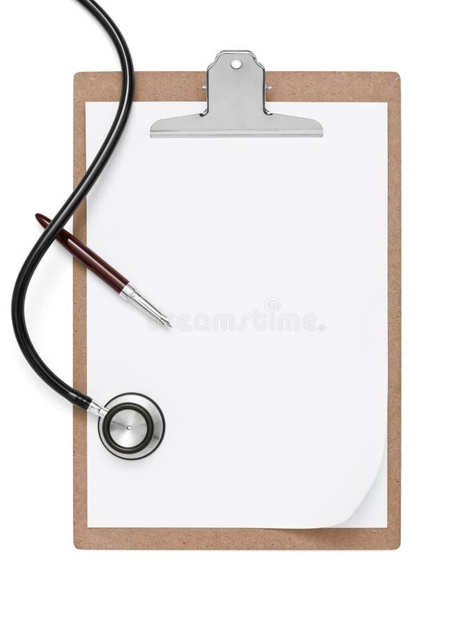 Stethoscoop en klembord met pen royalty-vrije stock foto