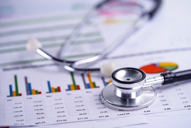 Stethoscoop, Grafieken en Grafiekenspreadsheetdocument, Financiën, Rekening, Statistieken, Investering, Analitisch onderzoek royalty-vrije stock afbeeldingen