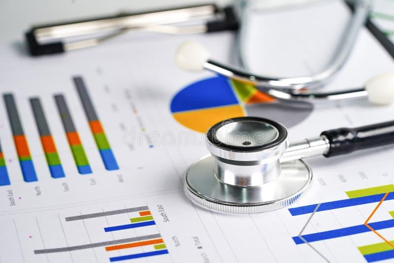 Stethoscoop, Grafieken en Grafiekenspreadsheetdocument, Financi?n, Rekening, Statistieken, Investering, Analitische onderzoekgege stock foto