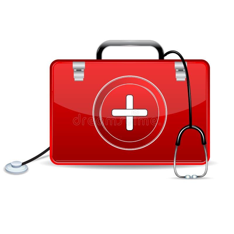 Stethoscoop met de Doos van de Eerste hulp stock illustratie
