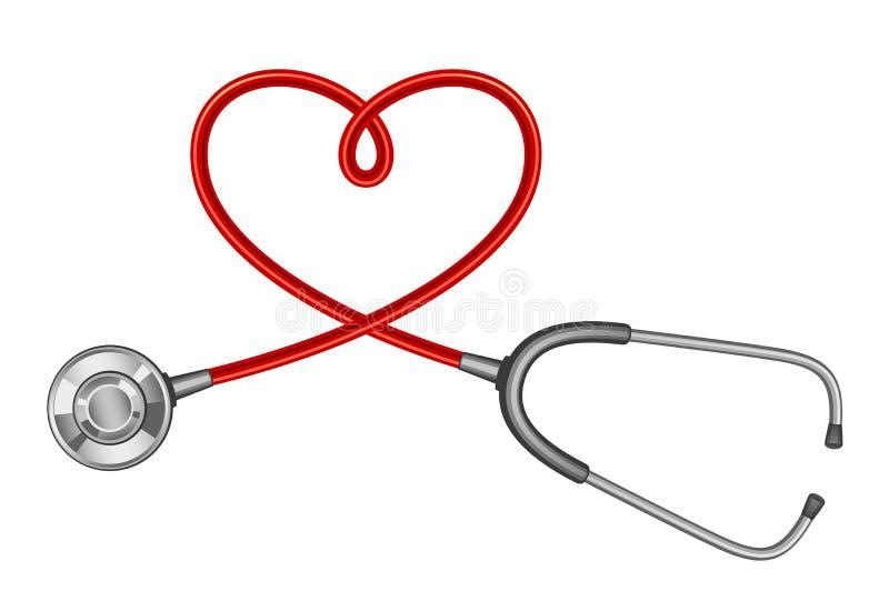 Stethoscoop met een verdraaid koord in de vorm van een hart stock illustratie