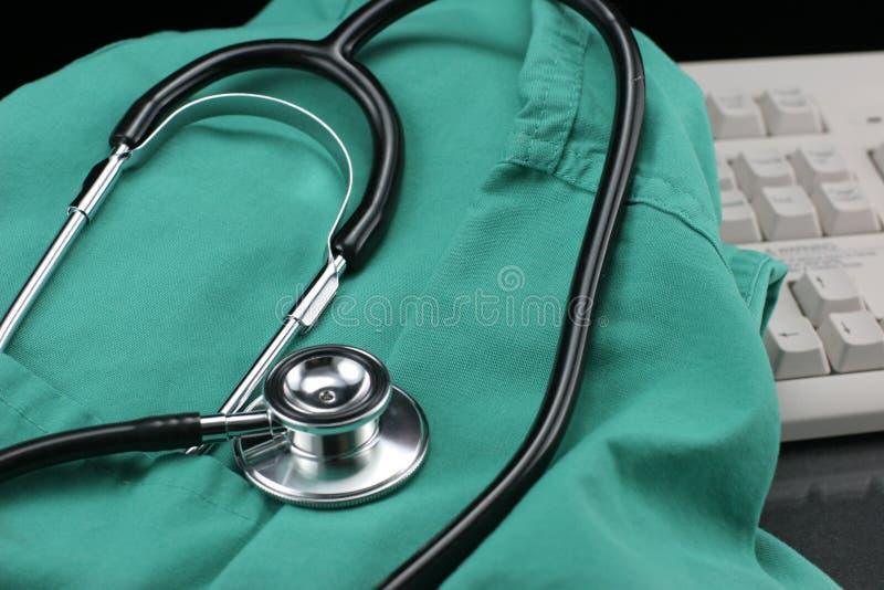 Stethoscoop met kiel & toetsenbord. royalty-vrije stock foto's