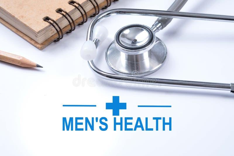 Stethoscoop, notitieboekje en potlood met de gezondheidswoorden van mensen gezondheid royalty-vrije stock afbeelding