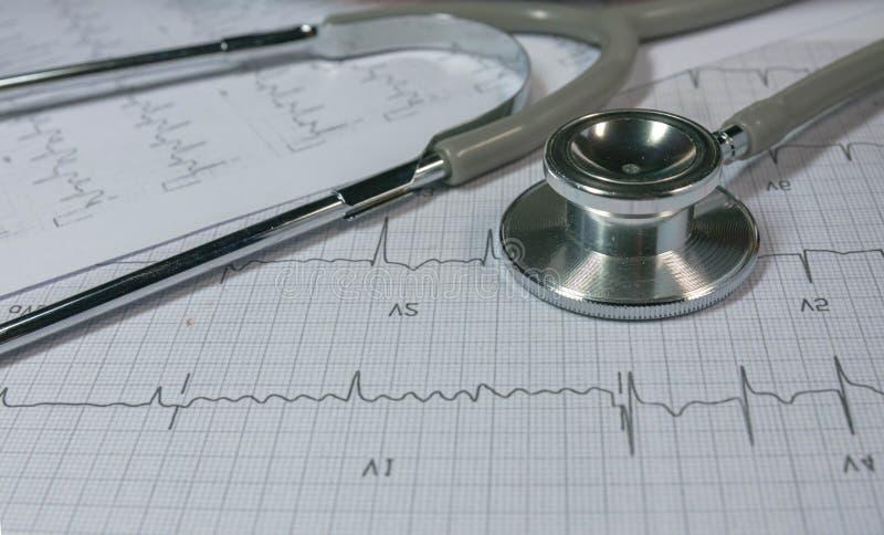 Stethoscoop op Cardiogram stock afbeelding