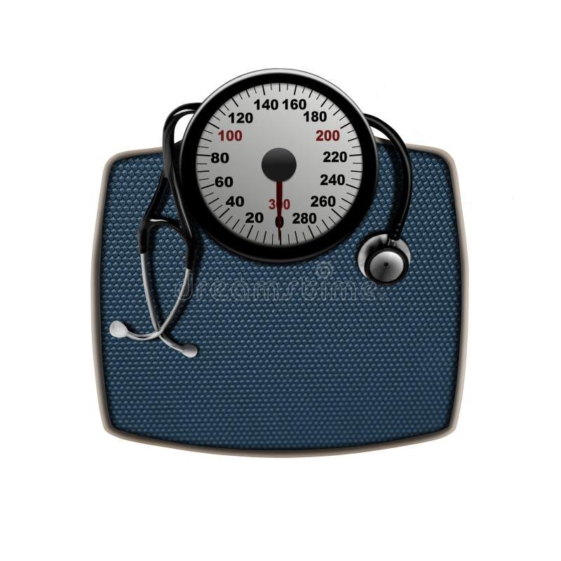 Stethoscoop op een gewichtsschalen stock afbeelding