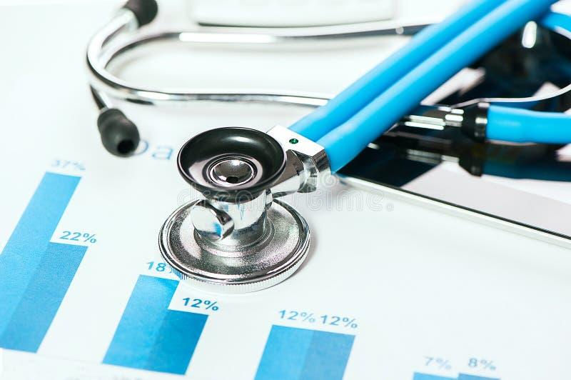 Stethoscoop op financiële grafieken stock afbeeldingen