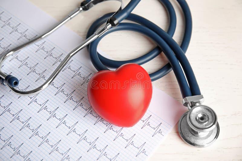 Stethoscoop, rood hart en cardiogram op lijst royalty-vrije stock foto's