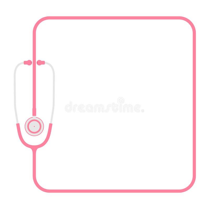 Stethoscoop roze kleur en vierkant die vormkader van kabel vlak ontwerp wordt gemaakt stock illustratie