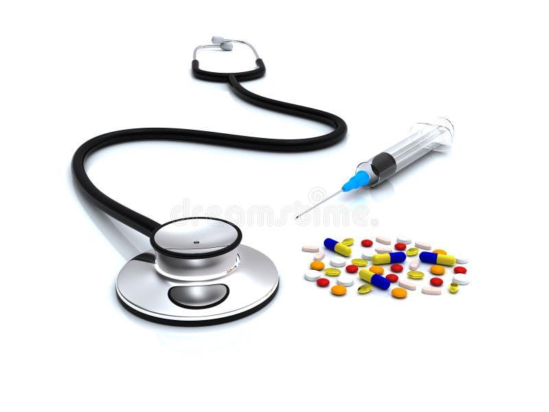 Stethoscoop, spuit en pillen vector illustratie