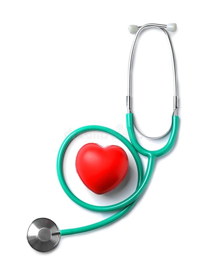 Stethoscoop voor het controleren van impuls en rood hart royalty-vrije stock afbeeldingen