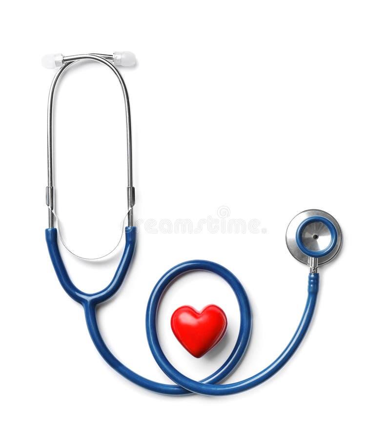 Stethoscoop voor het controleren van impuls en rood hart royalty-vrije stock foto