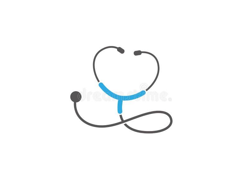 Stethoscoop voor het onderzoeksembleem van het harttarief royalty-vrije illustratie
