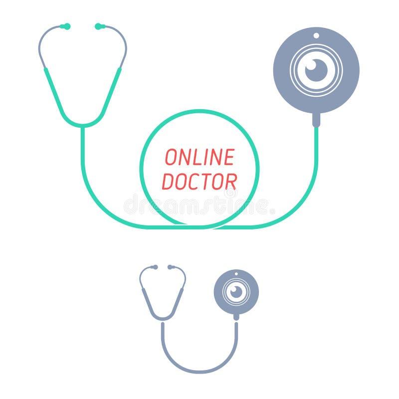 Stethoscoop, Webnok Telegeneeskunde en telehealth vlak illustrat vector illustratie