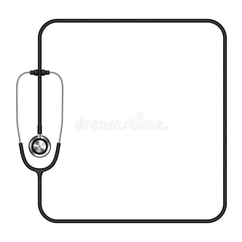 Stethoscoop zwarte kleur en vierkant die vormkader van kabel wordt gemaakt vector illustratie