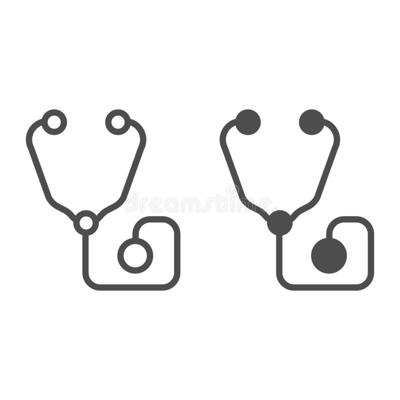 Stethoscooplijn en glyph pictogram Medische apparatuur vectordieillustratie op wit wordt geïsoleerd De stijl van het Phonendoscop royalty-vrije illustratie
