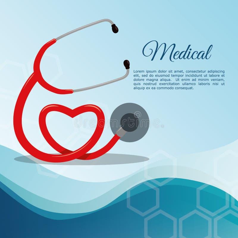 Stethoscoopmedische apparatuur royalty-vrije illustratie