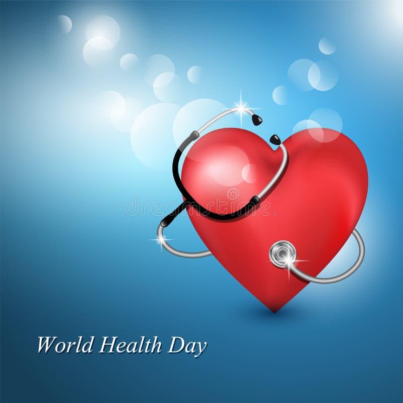 Stethoscoopmedische apparatuur en de hartvorm royalty-vrije illustratie