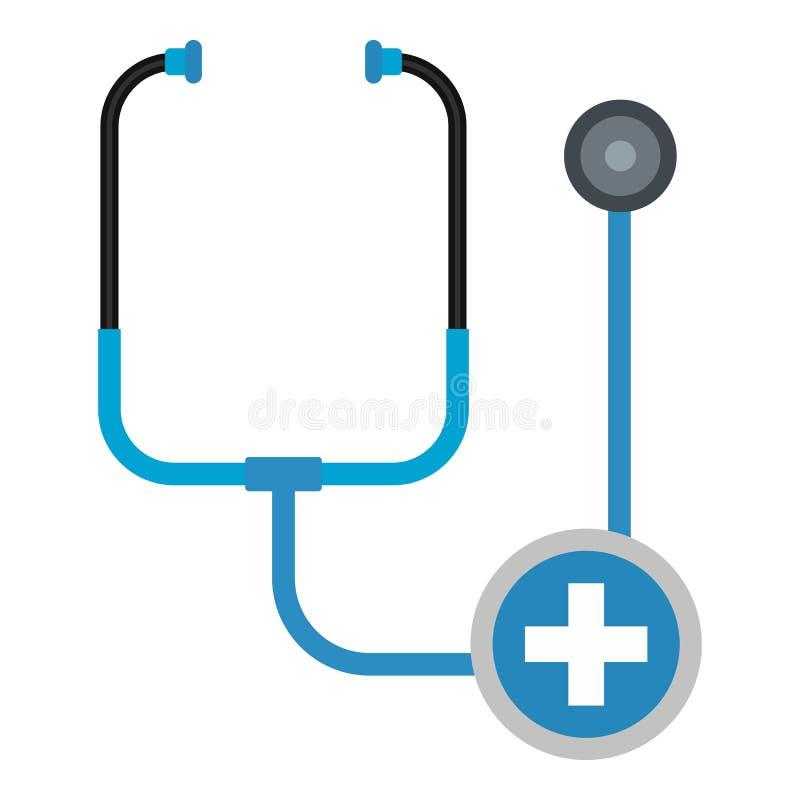 Stethoscooppictogram, vlakke stijl vector illustratie