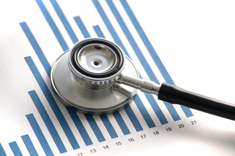Stethoscop en estadísticas gráficas imagen de archivo