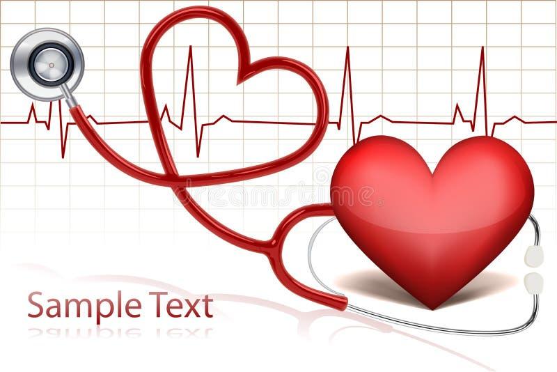 Stethoscope around heart royalty free illustration