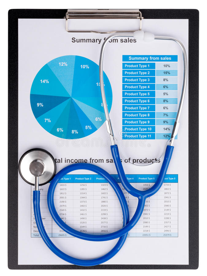 Stethoscope on the chart statistics business sales report.  stock photo