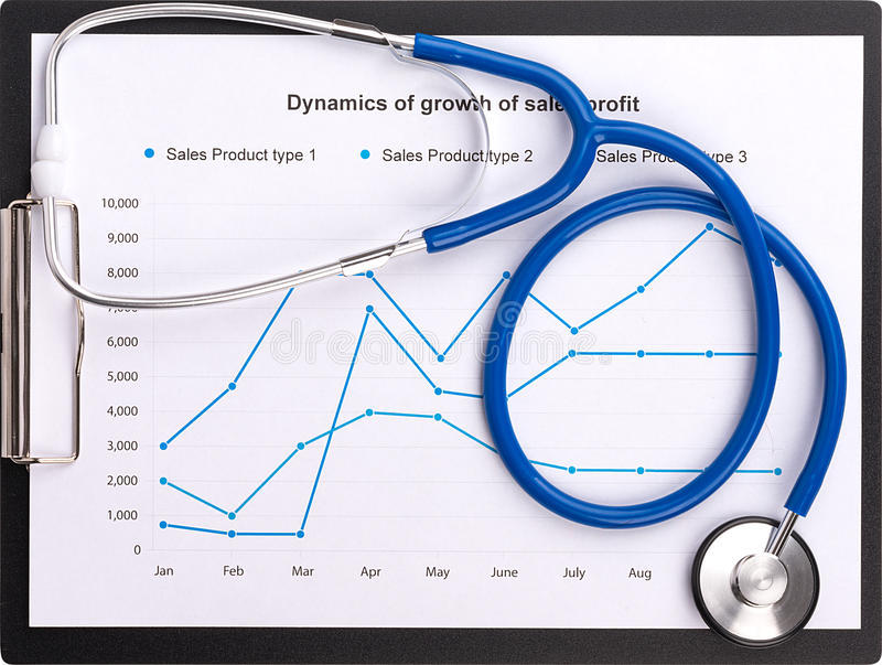 Stethoscope on the chart statistics business sales report.  royalty free stock photo