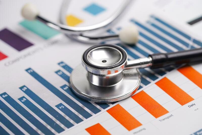 Stethoscope on charts and graphs paper, Finance, Account, Statistics royalty free stock photography