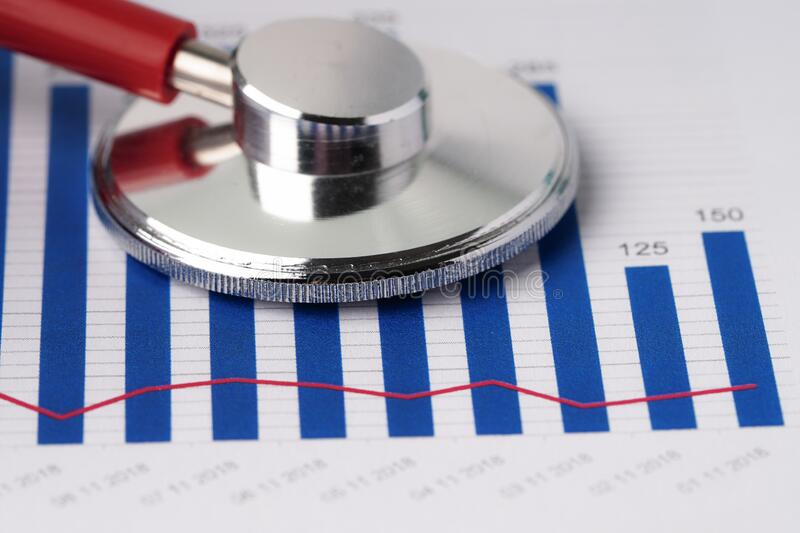 Stethoscope on charts and graphs paper, Finance, royalty free stock photo