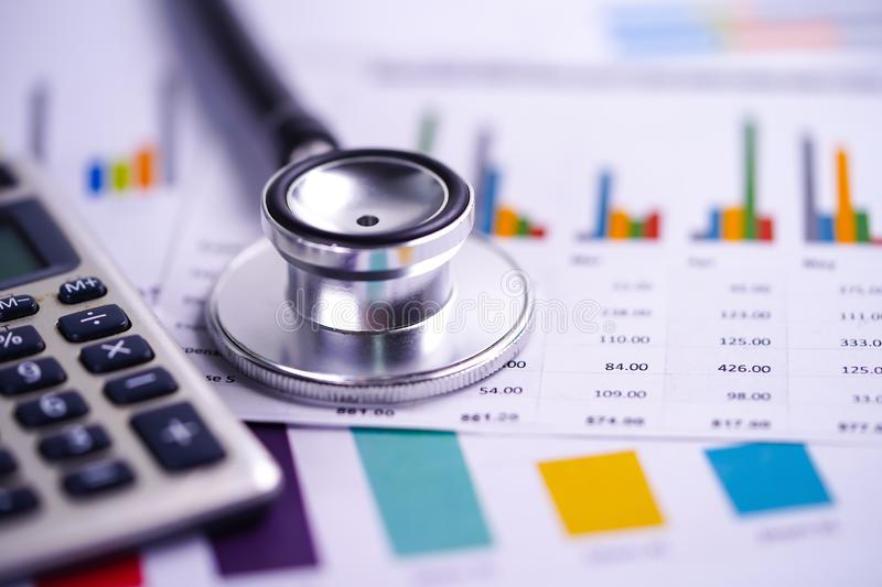 Stethoscope, Charts and Graphs spreadsheet paper, Finance, Account, Statistics, Investment, Analytic research data economy stock images
