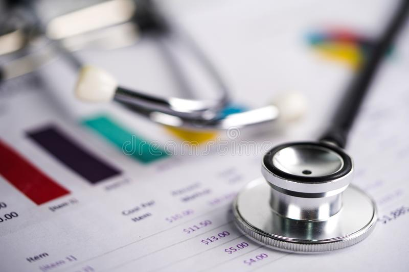 Stethoscope, Charts and Graphs spreadsheet paper, Finance, Account, Statistics stock photo