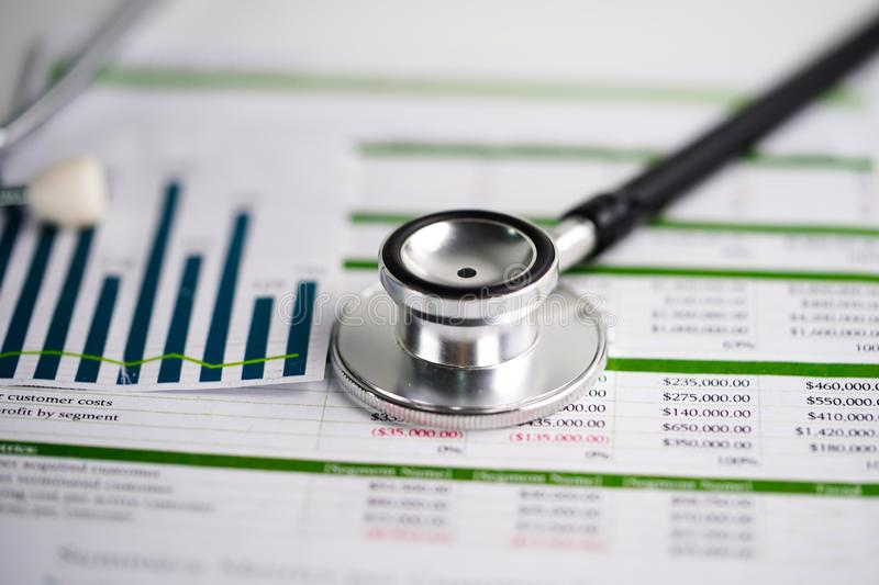 Stethoscope, Charts and Graphs spreadsheet paper, Finance, Account, Statistics, Investment. stock images