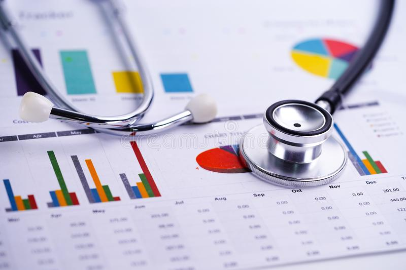 Stethoscope, Charts and Graphs spreadsheet paper, Finance, Account, Statistics, Investment, Analytic research data. Stethoscope, Charts and Graphs spreadsheet stock photos