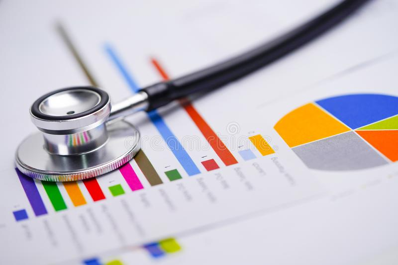 Stethoscope, Charts and Graphs spreadsheet paper, Finance, Account, Statistics, Investment, Analytic research data economy spreads. Heet and Business company royalty free stock image