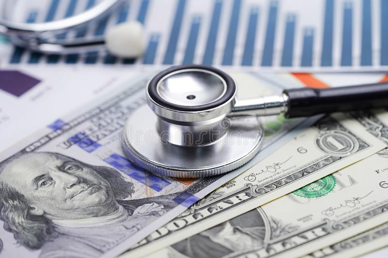 Stethoscope, Charts and Graphs spreadsheet paper, Finance, Account, Statistics, Investment, Analytic research data economy spreads. Heet and Business company stock photos