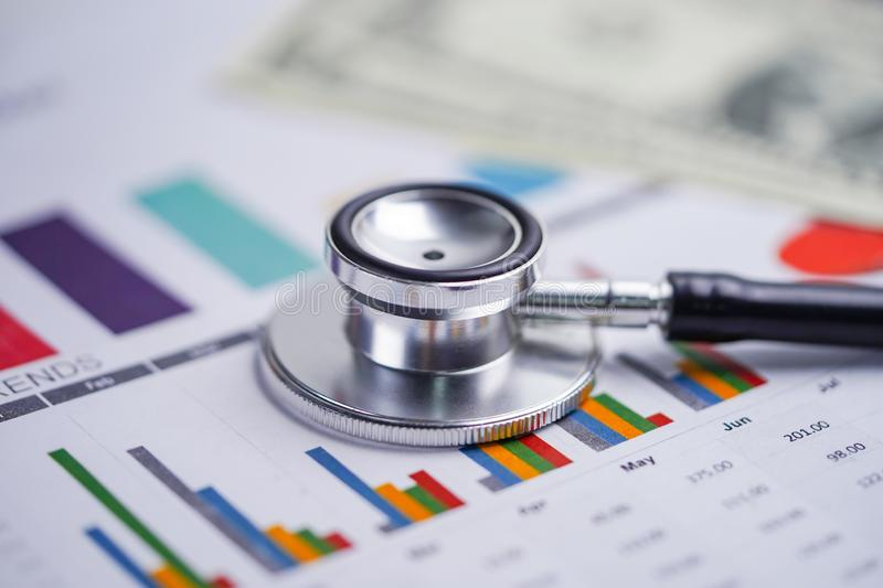 Stethoscope, Charts and Graphs spreadsheet paper, Finance, Account, Statistics, Investment, Analytic research data economy. Spreadsheet and Business company stock photos