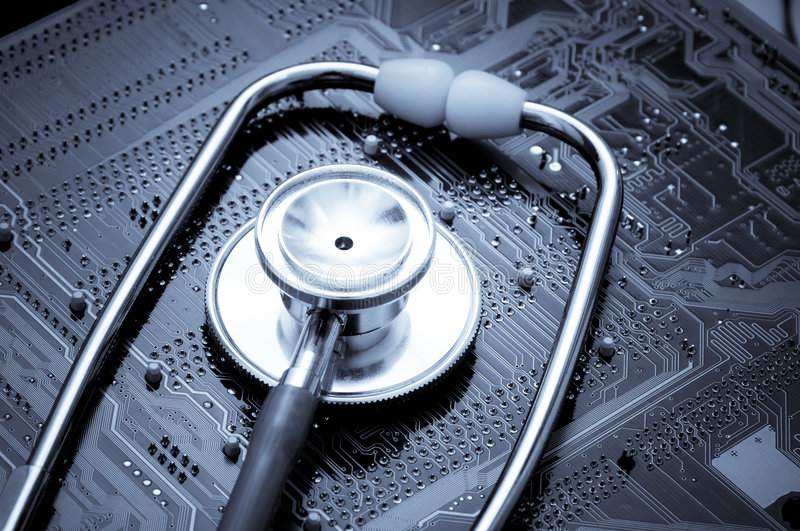Stethoscope and circuit board stock photography