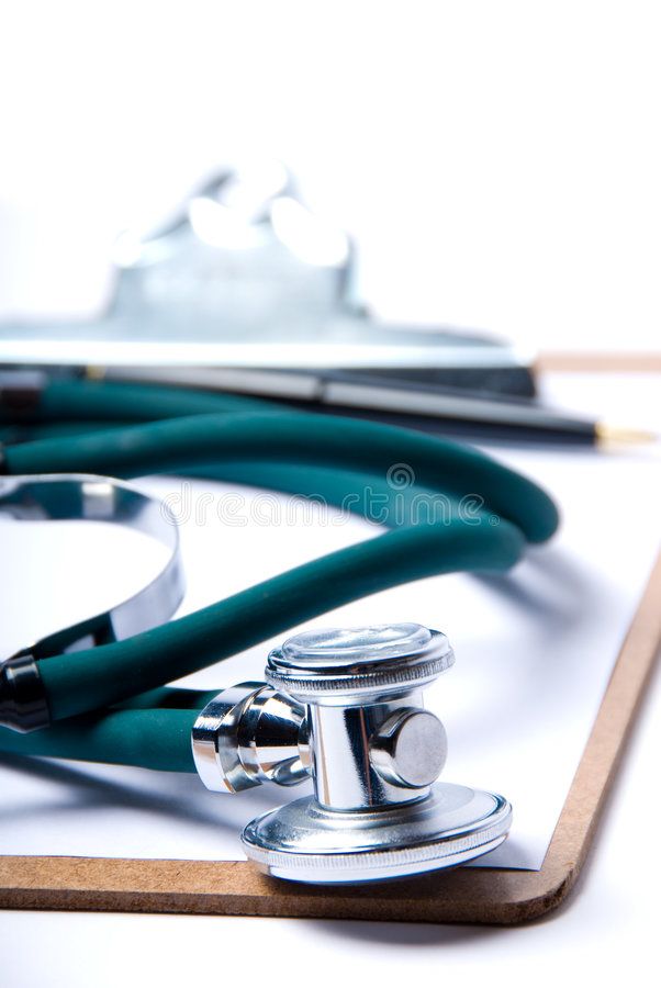 Stethoscope & clipboard royalty free stock photo