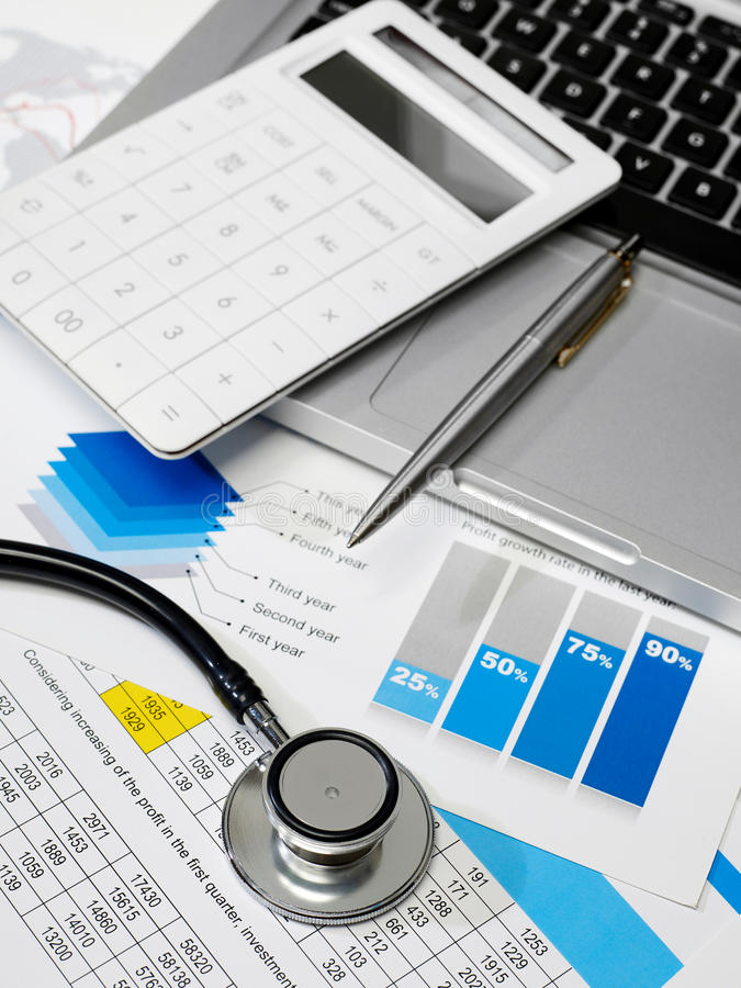 Stethoscope and data review royalty free stock photo