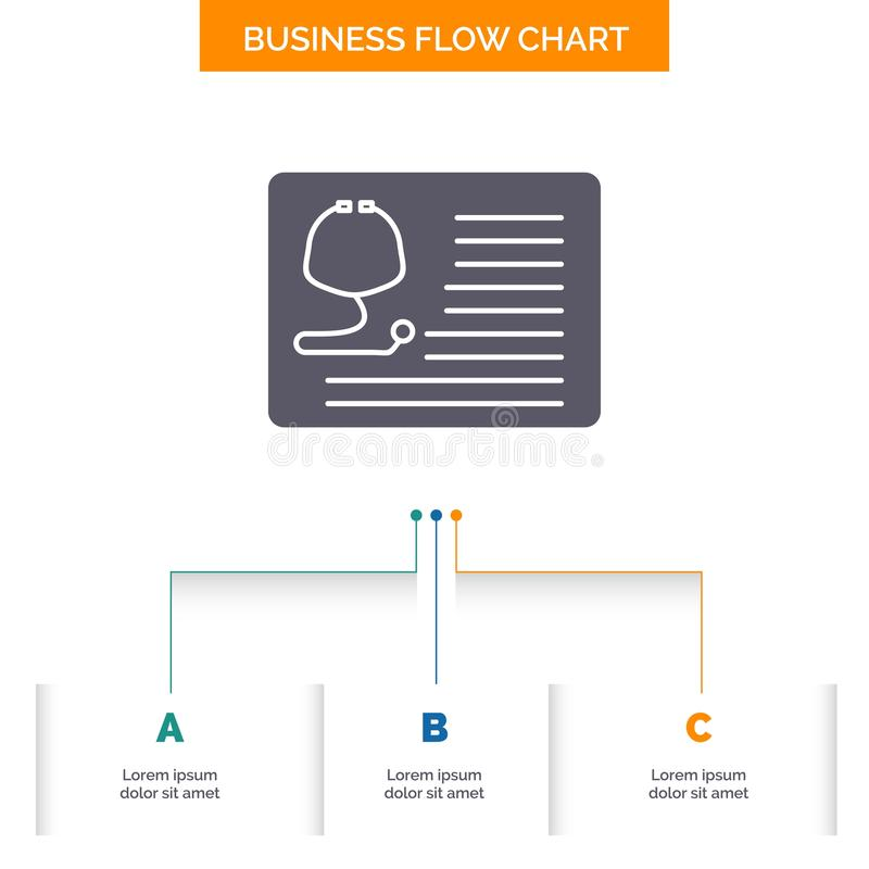 Stethoscope, doctor, cardiology, healthcare, medical Business Flow Chart Design with 3 Steps. Glyph Icon For Presentation. Background Template Place for text royalty free illustration
