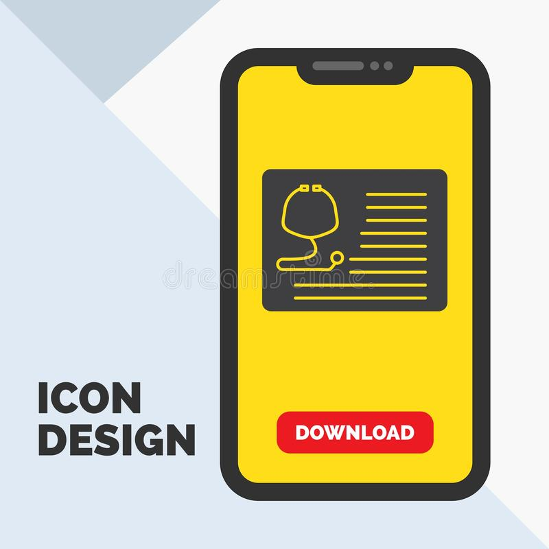 Stethoscope, doctor, cardiology, healthcare, medical Glyph Icon in Mobile for Download Page. Yellow Background. Vector EPS10 Abstract Template background royalty free illustration