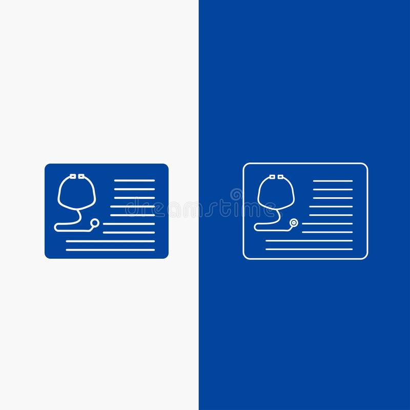 Stethoscope, doctor, cardiology, healthcare, medical Line and Glyph web Button in Blue color Vertical Banner for UI and UX,. Website or mobile application royalty free illustration