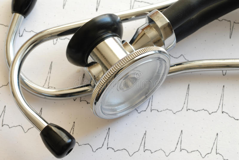 Stethoscope and ECG stock photos