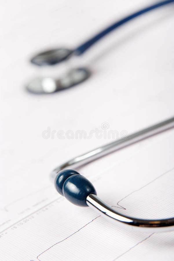 Download Stethoscope on ECG chart stock image. Image of electrocardiograph - 27384815