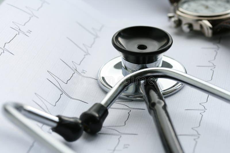Stethoscope and EKG royalty free stock photo